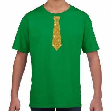 Groen t-shirt met gouden stropdas voor kinderen