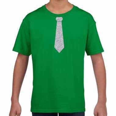 Groen t-shirt met zilveren stropdas voor kinderen