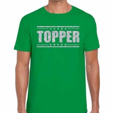 Groen topper shirt in zilveren glitter letters heren