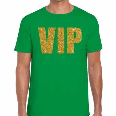 Groen vip goud fun t-shirt voor heren