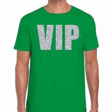 Groen vip zilver fun t-shirt voor heren
