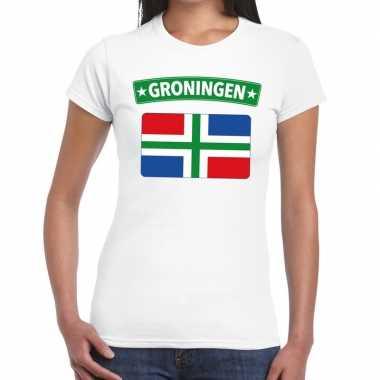 Groningen vlag t-shirt wit voor dames