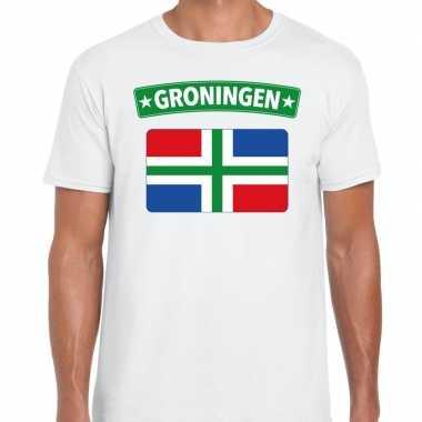 Groningen vlag t-shirt wit voor heren
