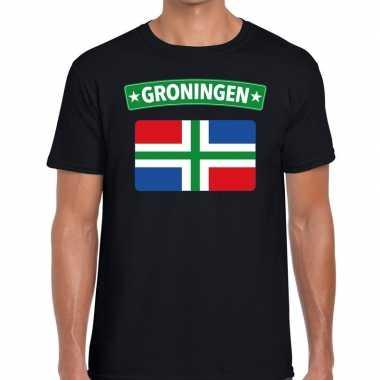Groningen vlag t-shirt zwart voor heren