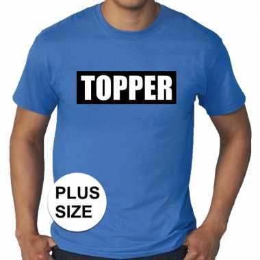 Grote maten blauw t-shirt heren met tekst topper in zwarte balk