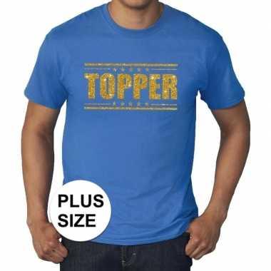 Grote maten blauw topper t-shirt gouden glitter letters heren