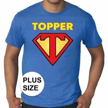 Grote maten t- shirt super topper heren blauw