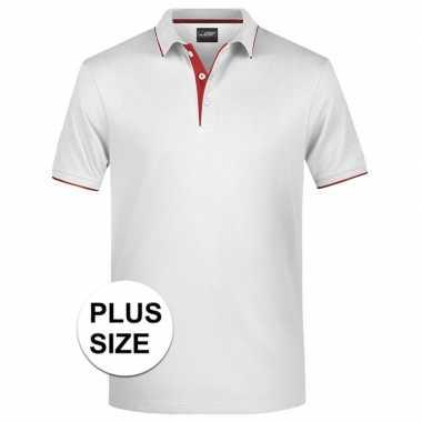 Grote maten wit/rood premium poloshirt golf pro voor heren