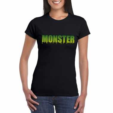 Halloween monster shirt zwart dames