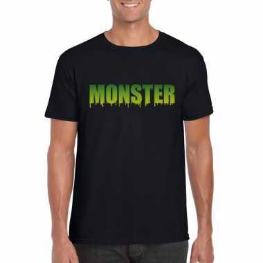 Halloween monster shirt zwart heren