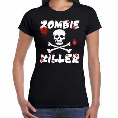 Halloween zombie killer shirt zwart dames met zombie killer bedrukking