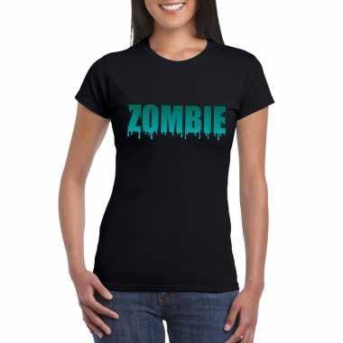 Halloween zombie shirt zwart dames 10122319