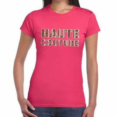 Haute couture slangen print fun t-shirt roze voor dames