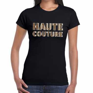 Haute couture slangen print fun t-shirt zwart voor dames