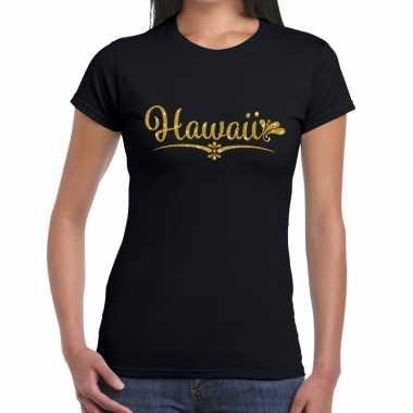 Hawaii gouden letters fun t-shirt zwart voor dames