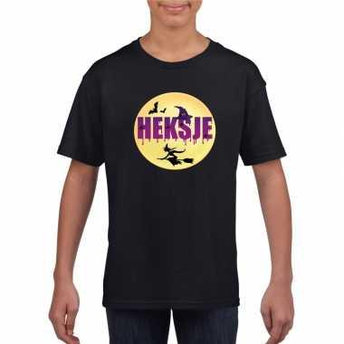 Heksje halloween t-shirt zwart voor meisjes