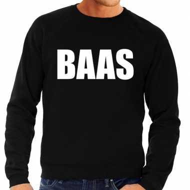 Heren fun text sweater baas zwart