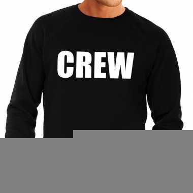 Heren fun text sweater crew zwart