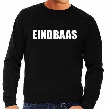 Heren fun text sweater eindbaas zwart