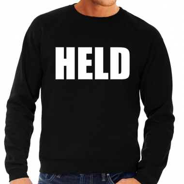 Heren fun text sweater held zwart