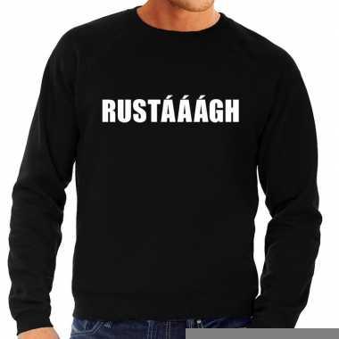 Heren fun text sweater rustaaagh zwart