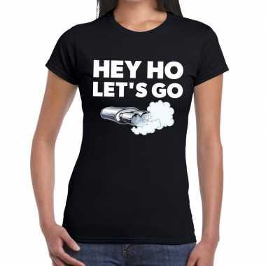 Hey ho lets go zwarte cross t-shirt zwart voor dames