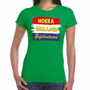 Hoera geslaagd gefeliciteerd groen fun-t shirt voor dames