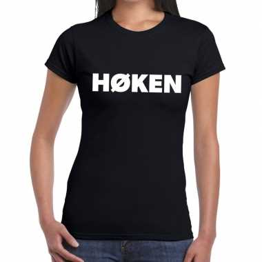 Hoken zwarte cross t-shirt zwart voor dames