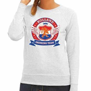 Holland drinking team sweater grijs dames