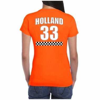 Holland race shirt met nummer 33 - nederland fan t-shirt / outfit voor dames