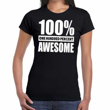 Honderd procent awesome t-shirt zwart voor dames