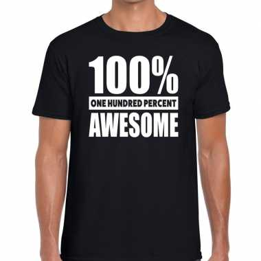 Honderd procent awesome t-shirt zwart voor heren