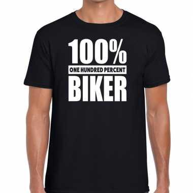 Honderd procent biker/ motorrijder t-shirt zwart voor heren