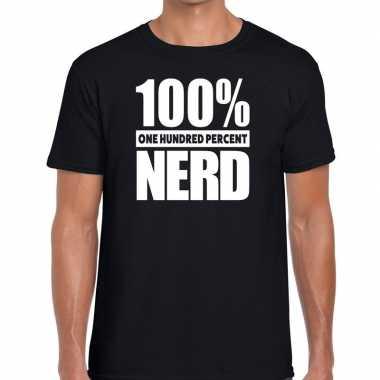 Honderd procent nerd t-shirt zwart voor heren