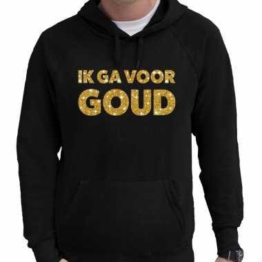Hooded sweater zwart ik ga voor goud glitter bedrukking voor heren
