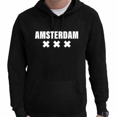 Hooded sweater zwart met amsterdam bedrukking voor heren