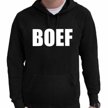 Hooded sweater zwart met boef bedrukking voor heren