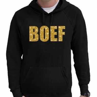 Hooded sweater zwart met goud boef glitter bedrukking voor heren