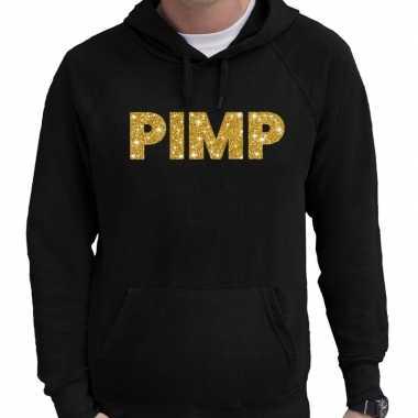 Hooded sweater zwart met goud pimp glitter bedrukking voor heren