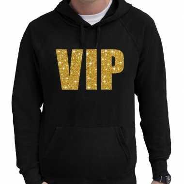 Hooded sweater zwart met goud vip glitter bedrukking voor heren