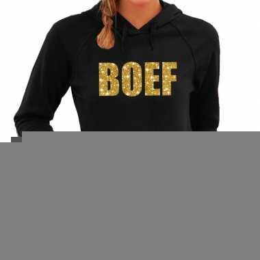 Hooded sweater zwart met gouden boef bedrukking voor dames