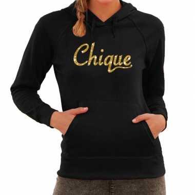 Hooded sweater zwart met gouden chique bedrukking voor dames