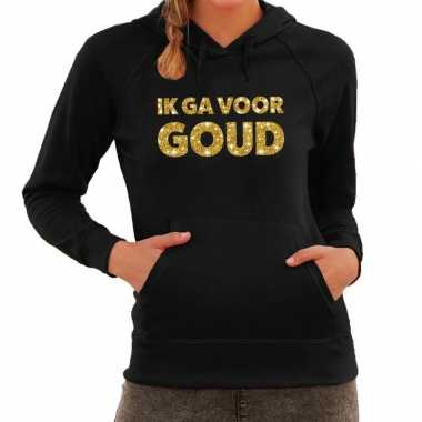 Hooded sweater zwart met gouden ik ga voor goud bedrukking voor dames