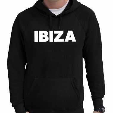 Hooded sweater zwart met ibiza bedrukking voor heren