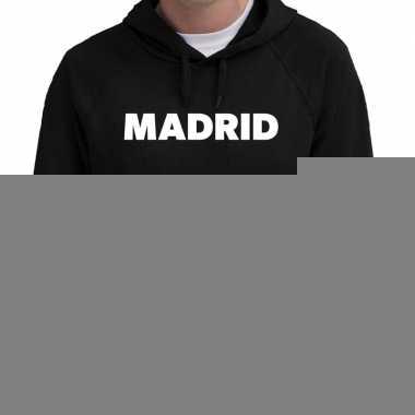 Hooded sweater zwart met madrid bedrukking voor heren