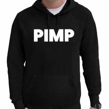Hooded sweater zwart met pimp bedrukking voor heren