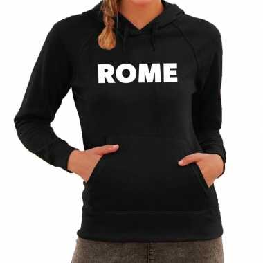 Hooded sweater zwart met rome bedrukking voor dames