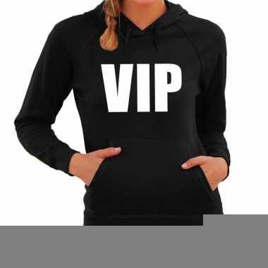 Hooded sweater zwart met vip bedrukking voor dames
