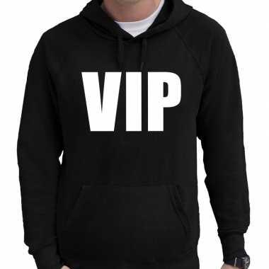 Hooded sweater zwart met vip bedrukking voor heren