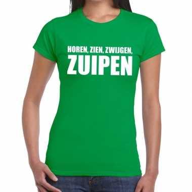 Horen zien zwijgen zuipen fun t-shirt groen voor dames